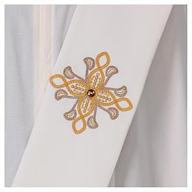 Étole diaconale ivoire fleur avec applications 80% polyester 20% laine s2