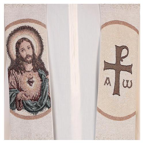 Estola Sagrado Corazón de Jesús marfil 2
