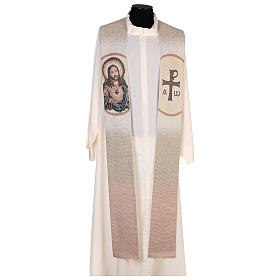 Étole Sacré-Coeur de Jésus couleur ivoire s1