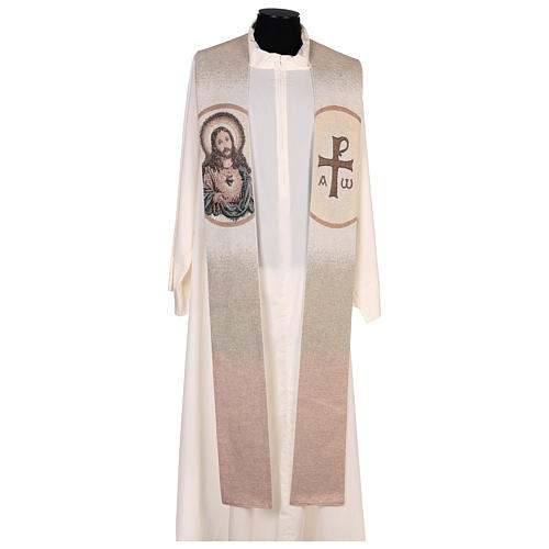 Étole Sacré-Coeur de Jésus couleur ivoire 1