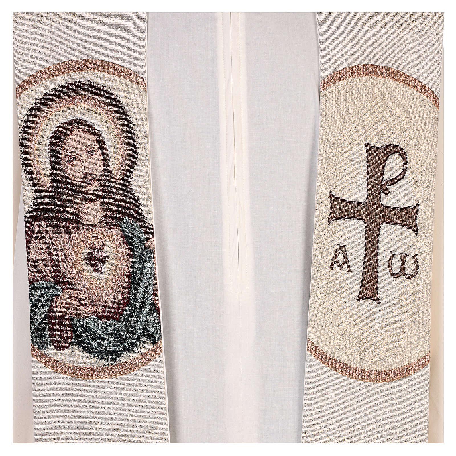 Stola Sacro Cuore di Gesù avorio  4