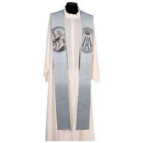 Étole Notre-Dame du Mont-Carmel fond bleu clair s1
