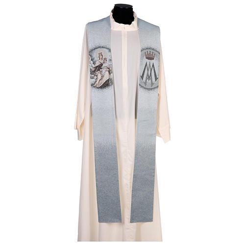 Étole Notre-Dame du Mont-Carmel fond bleu clair 1