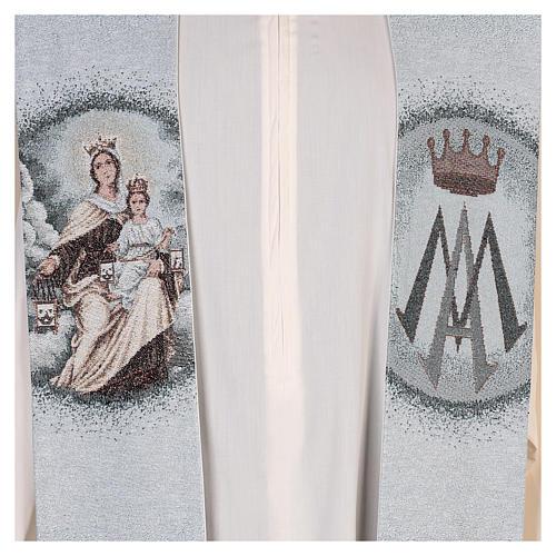 Étole Notre-Dame du Mont-Carmel fond bleu clair 2