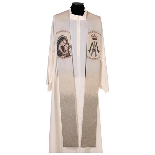 Étole Notre Dame du Bon Conseil symbole marial couleur ivoire 1