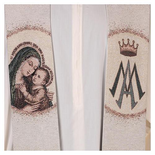 Étole Notre Dame du Bon Conseil symbole marial couleur ivoire 2