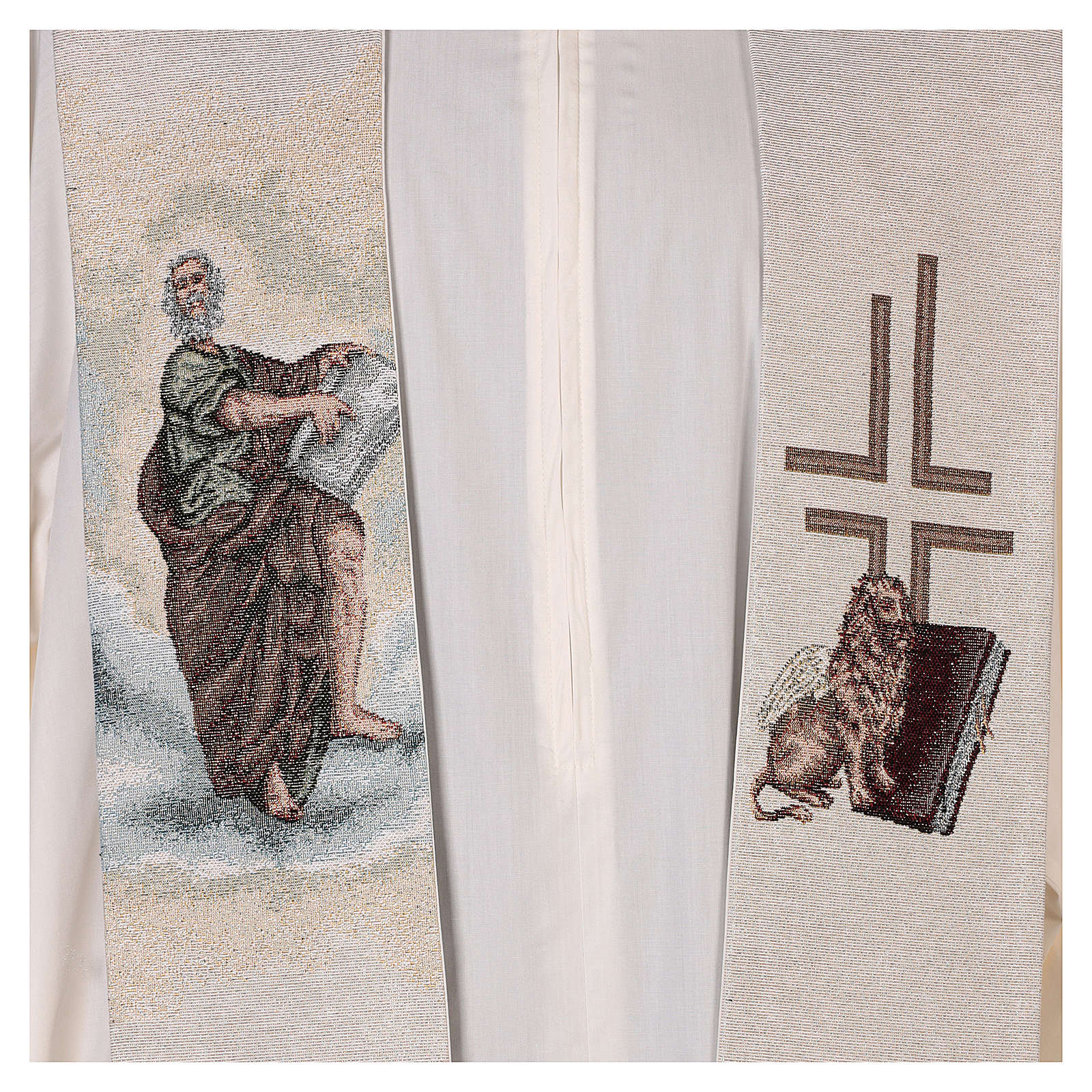 Étole Saint Marc Évangéliste avec lion ailé couleur ivoire 4