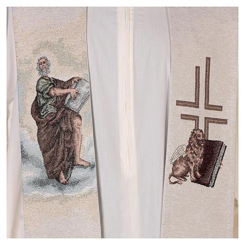 Étole Saint Marc Évangéliste avec lion ailé couleur ivoire 2