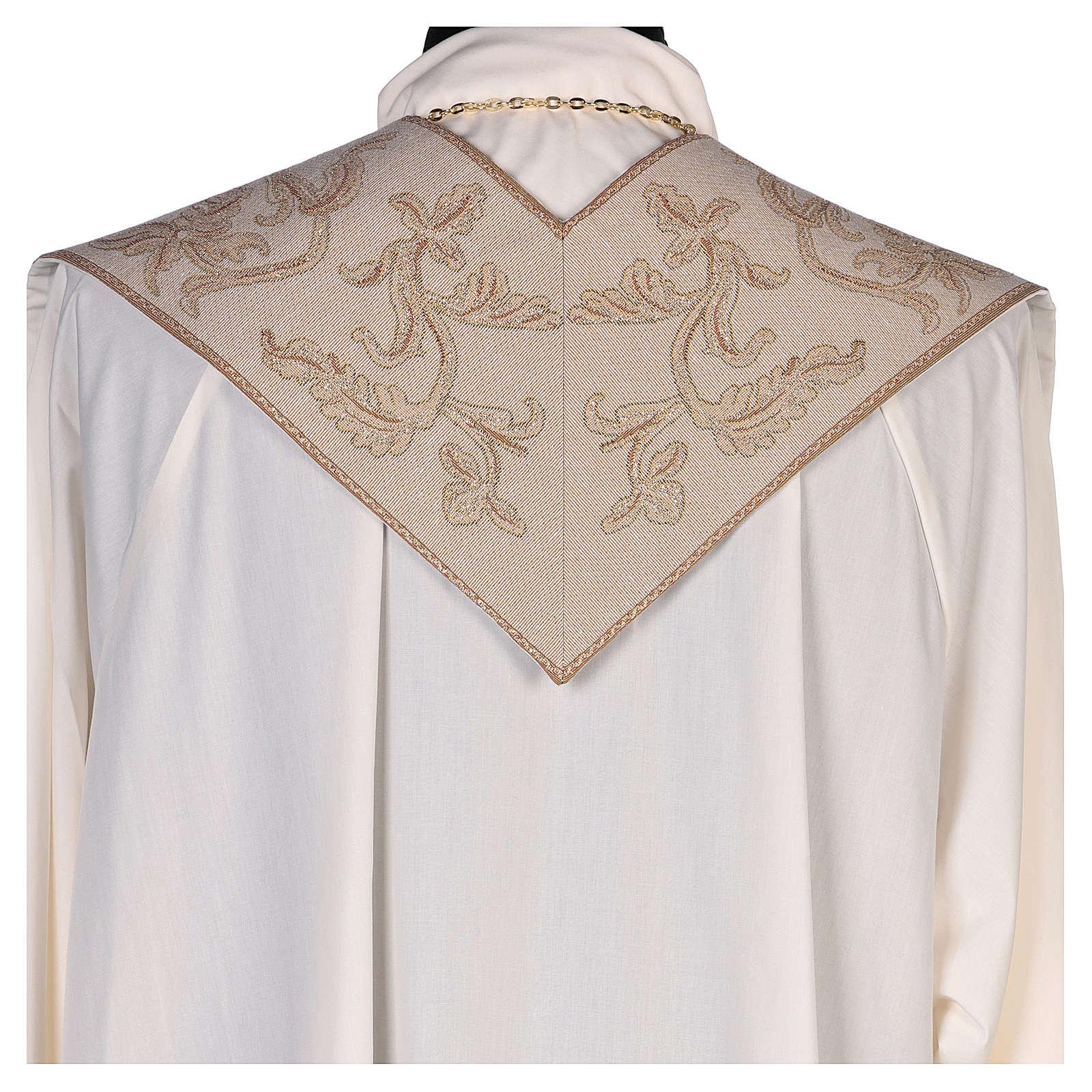 Étole lamé Anges adoration ostensoir agneau couleur ivoire 4