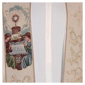 Étole lamé Anges adoration ostensoir agneau couleur ivoire s2