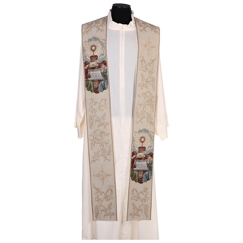Étole lamé Anges adoration ostensoir agneau couleur ivoire 1