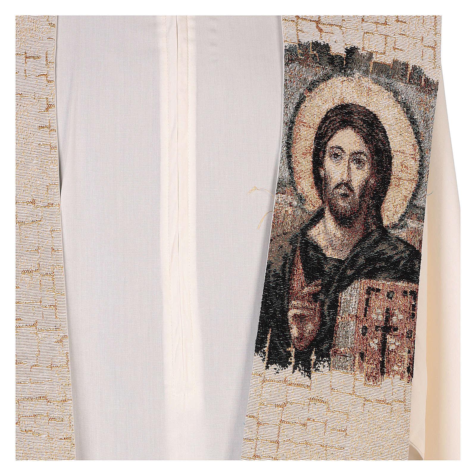 Estola Cristo Pantocrátor lamé relieve base marfil 4