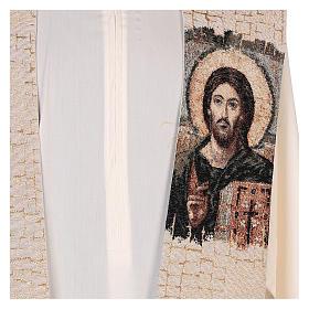 Estola Cristo Pantocrátor lamé relieve base marfil s2