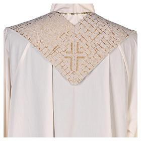 Estola Cristo Pantocrátor lamé relieve base marfil s4