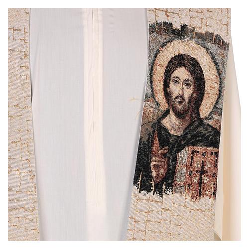 Estola Cristo Pantocrátor lamé relieve base marfil 2