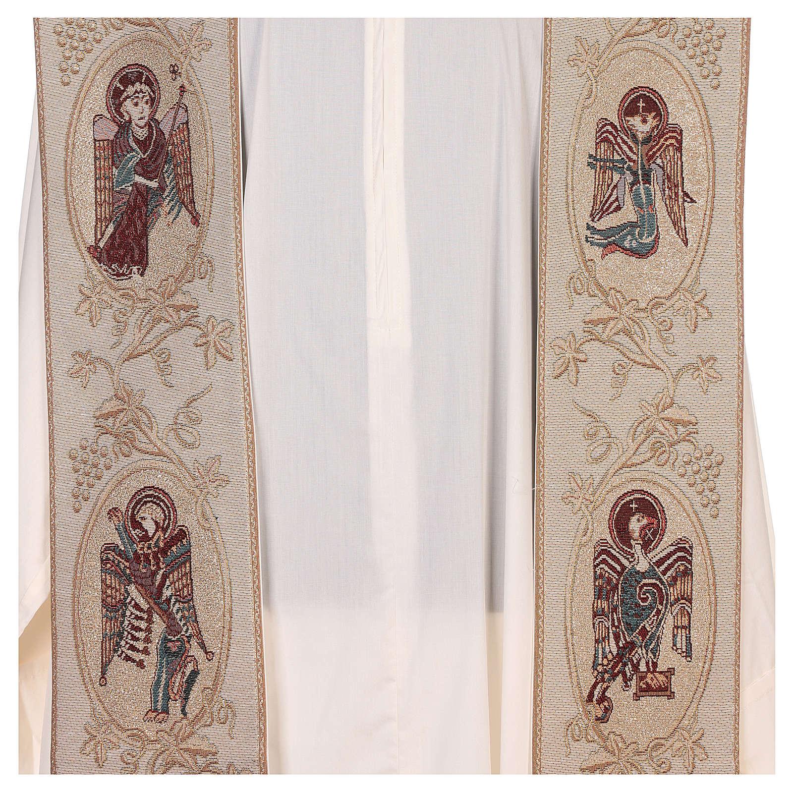 Estola con símbolos de los 4 Evangelistas lamé marfil 4