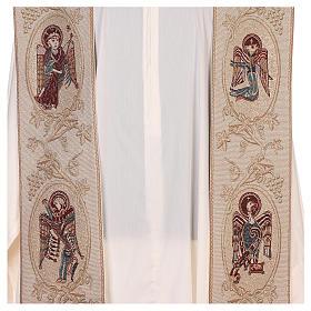 Estola con símbolos de los 4 Evangelistas lamé marfil s2