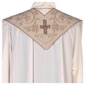 Estola con símbolos de los 4 Evangelistas lamé marfil s3