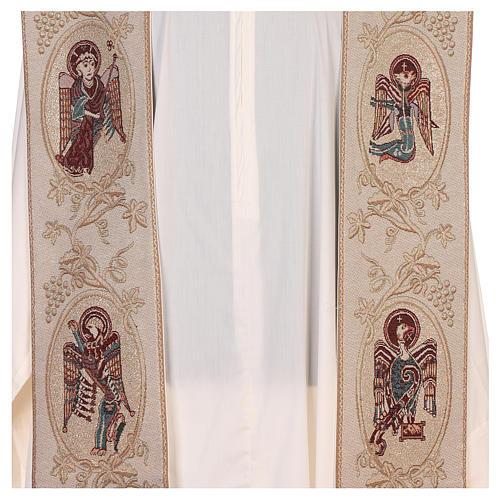 Estola con símbolos de los 4 Evangelistas lamé marfil 2