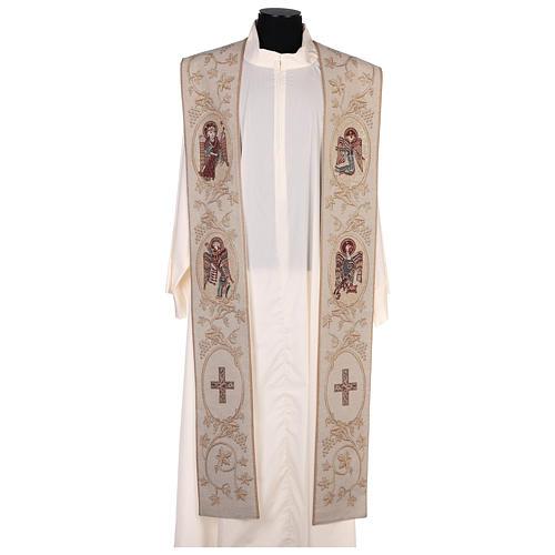 Étole avec symboles des 4 Évangélistes lamé couleur ivoire 1