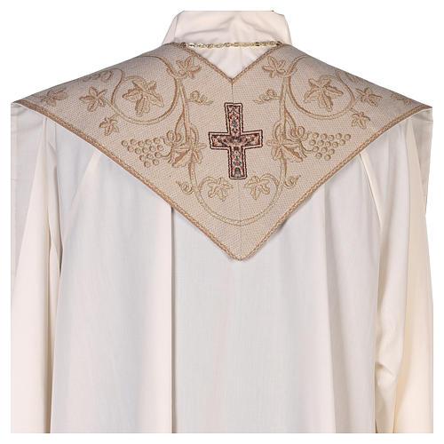 Stola con simboli dei 4 Evangelisti lamé avorio  3