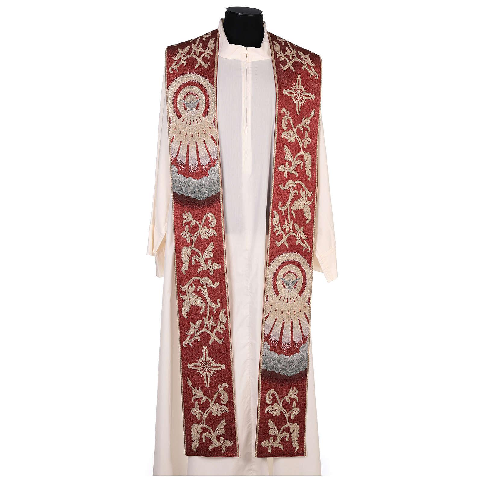Estola Espírtu Santo roja con motivos hilo dorado 4