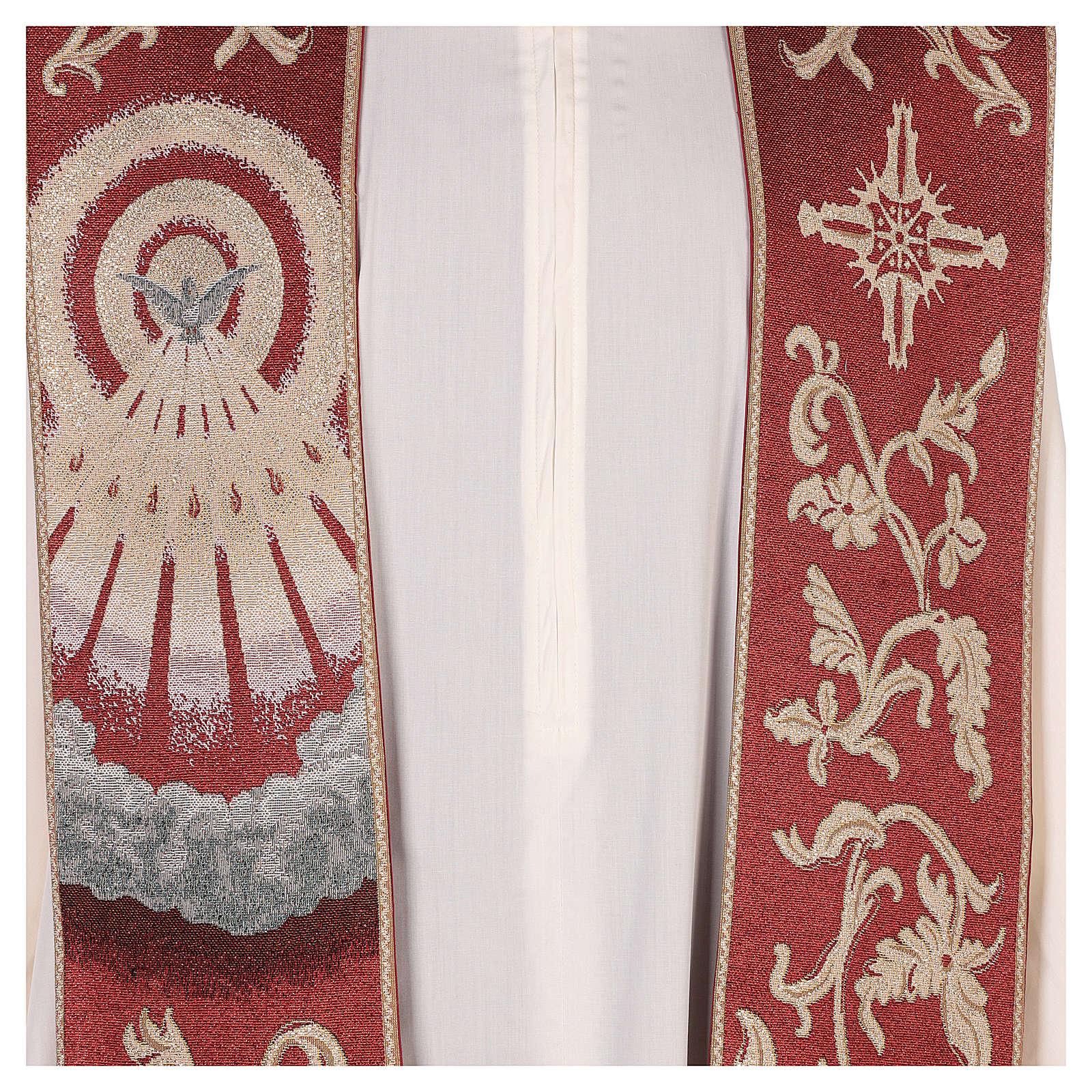 Étole Saint Esprit rouge avec décorations en fil doré 4