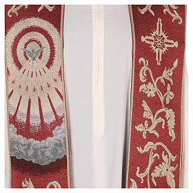 Étole Saint Esprit rouge avec décorations en fil doré s2