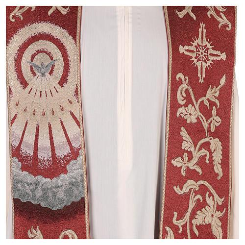 Étole Saint Esprit rouge avec décorations en fil doré 2