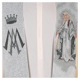 Étole dédiée à la Miséricordieuse fond bleu et gris s2