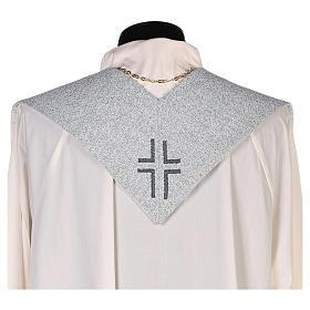 Étole dédiée à la Miséricordieuse fond bleu et gris s3