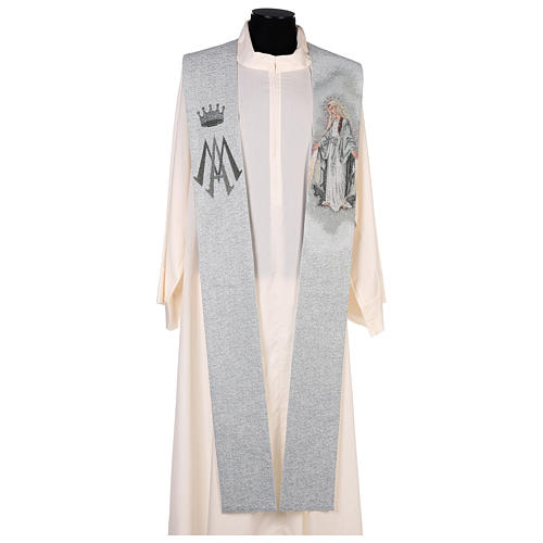 Étole dédiée à la Miséricordieuse fond bleu et gris 1