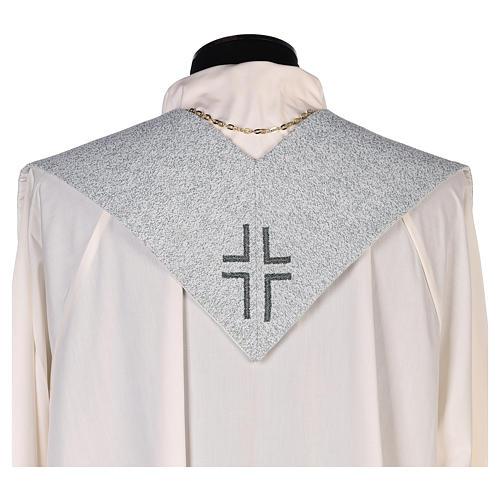 Étole dédiée à la Miséricordieuse fond bleu et gris 3