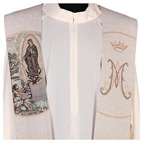 Estola Juan Diego y Virgen de Guadalupe marfil s2