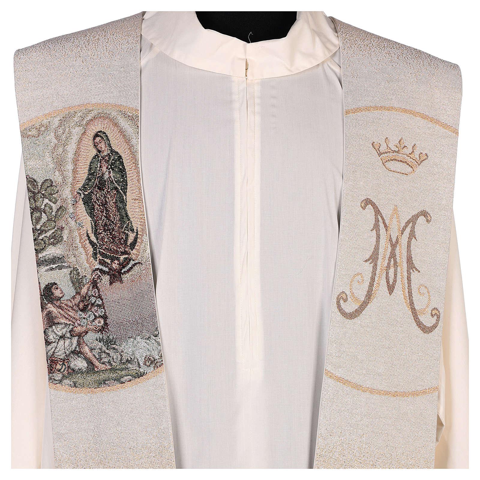Étole Juan Diego et Notre-Dame de Guadalupe couleur ivoire 4