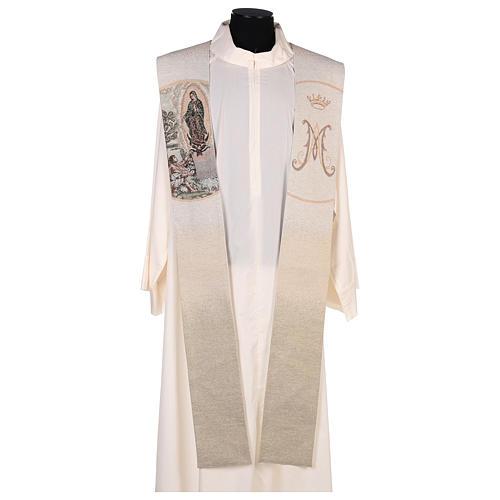 Étole Juan Diego et Notre-Dame de Guadalupe couleur ivoire 1
