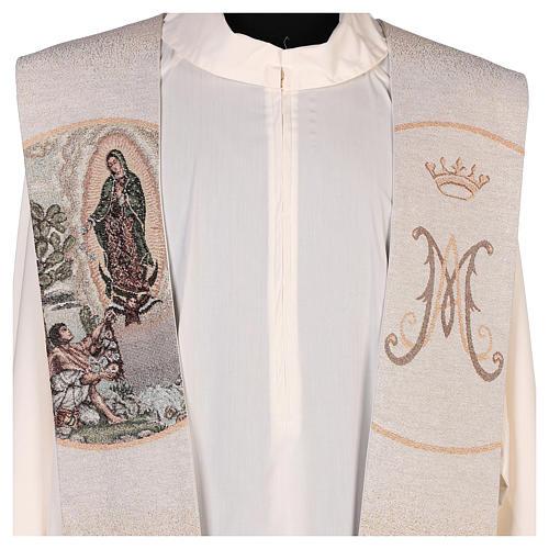 Étole Juan Diego et Notre-Dame de Guadalupe couleur ivoire 2