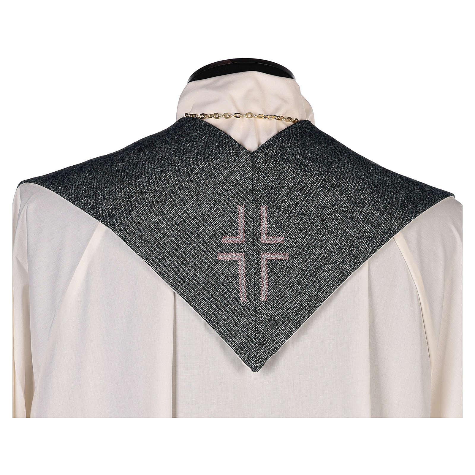 Étole Christ Miséricordieux fond vert fil doré 4