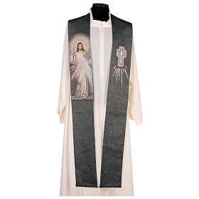 Étole Christ Miséricordieux fond vert fil doré s1