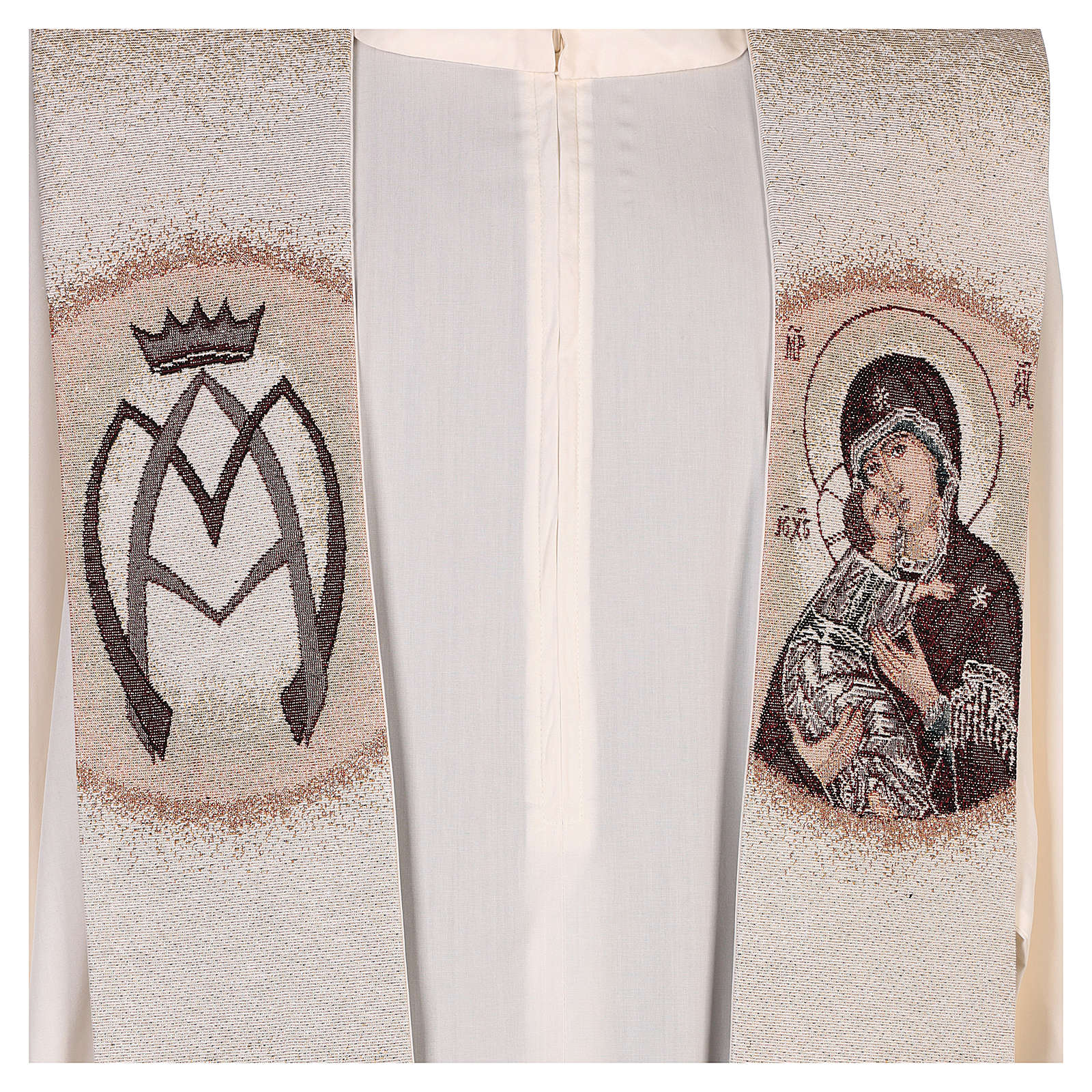 Estola Virgen de la Ternura y símbolo mariano marfil 4