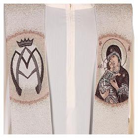 Étole Vierge de Tendresse et symbole marial couleur ivoire s2