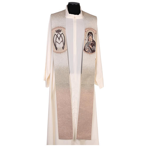 Étole Vierge de Tendresse et symbole marial couleur ivoire 1