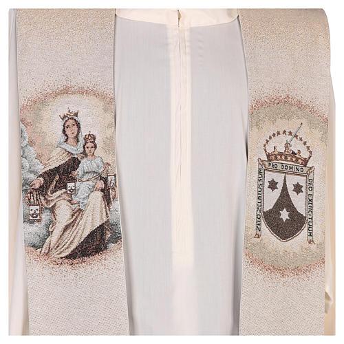 Estola Virgen del Carmen y escudo carmelita marfil 2
