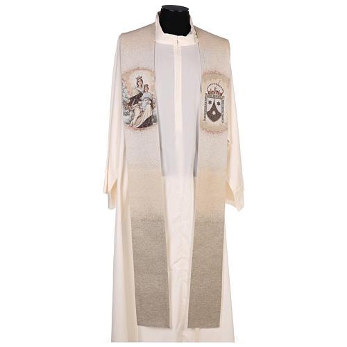Étole Notre-Dame du Mont-Carmel et blason carme couleur ivoire 1