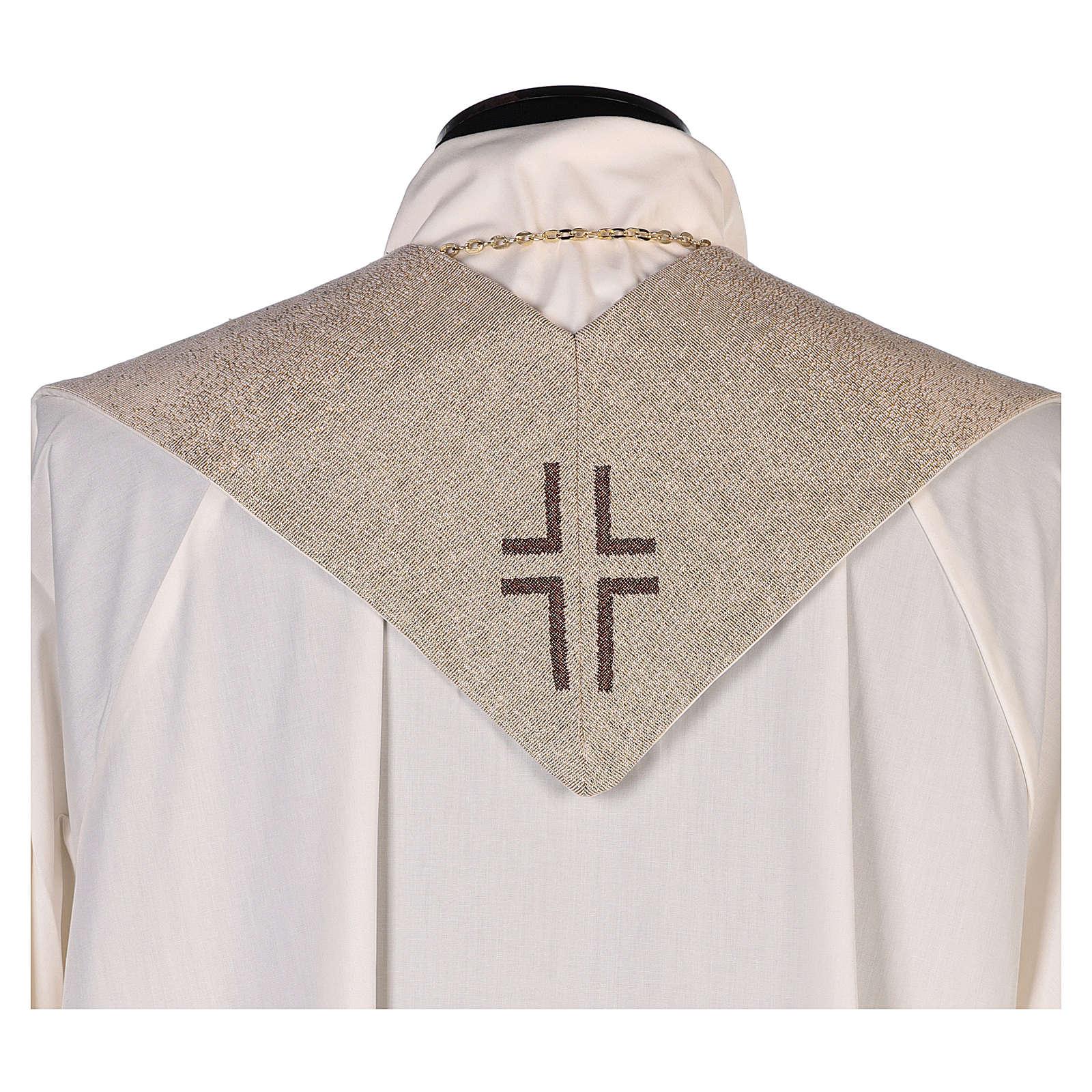 Stola Madonna del Carmelo e stemma carmelitano avorio 4