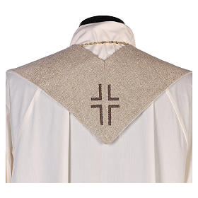 Stola Madonna del Carmelo e stemma carmelitano avorio s3