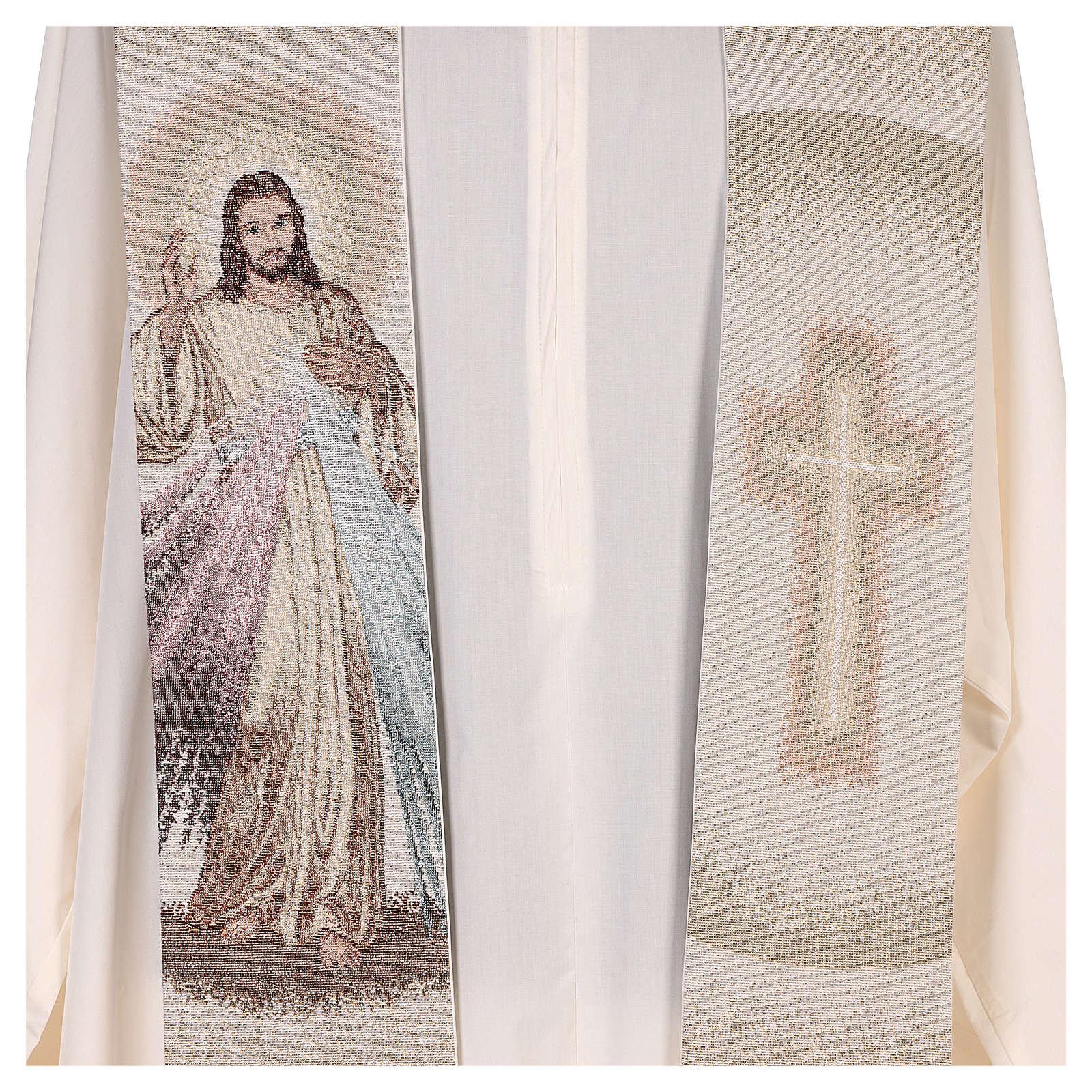 Étole Christ Miséricordieux croix dégradé pêche-ivoire 4