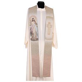 Étole Christ Miséricordieux croix dégradé pêche-ivoire s1