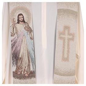 Étole Christ Miséricordieux croix dégradé pêche-ivoire s2