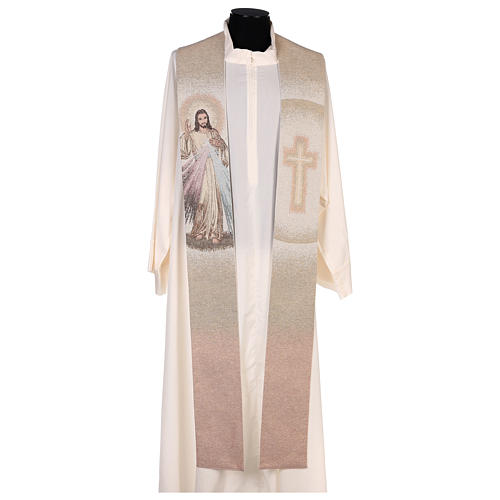 Étole Christ Miséricordieux croix dégradé pêche-ivoire 1